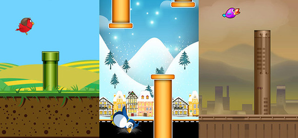 Several app reskins of a Flappy Bird clone